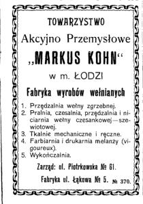 Ogłoszenie w książce adresowej z 1904 roku